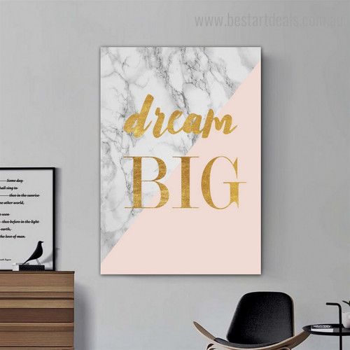 Dream Big Abstract Quote Modern Framed Painting Photo Canvas Print for Room Wall Moulding