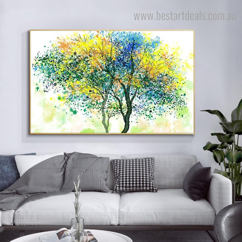 Colorful Leafage Abstract Botanical Framed Artwork Photo Canvas Print for Room Wall Outfit