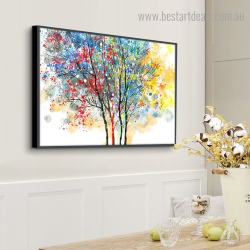Motley Foliage Abstract Botanical Framed Artwork Pic Canvas Print for Room Wall Decoration