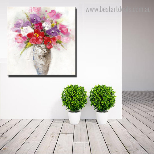 Chequered Floral Vase Abstract Botanical Framed Artwork Photo Canvas Print for Room Wall Outfit