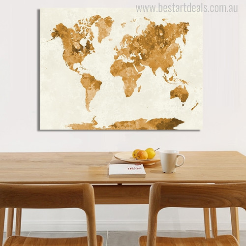 Golden Earth Map Print for Dining Room Decor