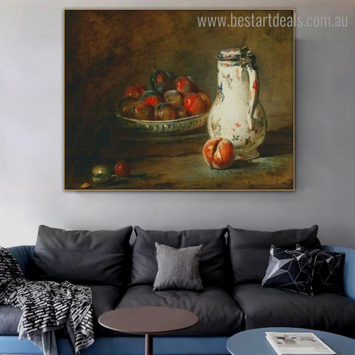 Bowl of Plums Still Life Reproduction Framed Painting Photo Canvas Print for Room Wall Decoration