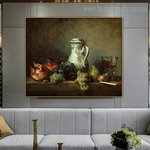Grapes Pomegranates Still Life Reproduction Framed Painting Image Canvas Print for Room Wall Equipment