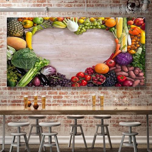 Vegetables Fruits Food Modern Framed Artwork Portrait Canvas Print for Room Wall Flourish