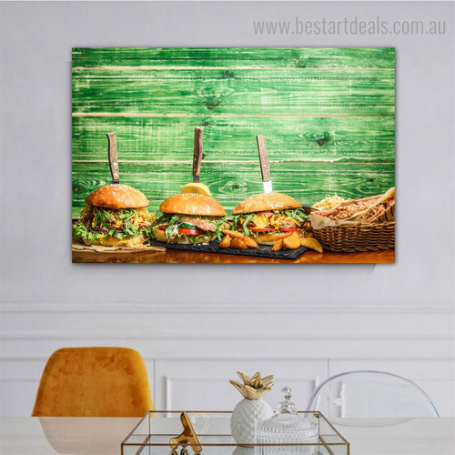 Burgers Food Modern Framed Artwork Image Canvas Print for Room Wall Garnish