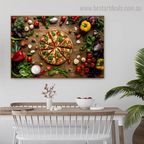 Pizza Food Modern Framed Artwork Image Canvas Print for Room Wall Getup