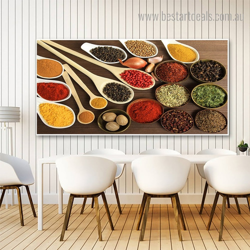 Onion and Spices Food Modern Framed Artwork Image Canvas Print for Room Wall Garniture