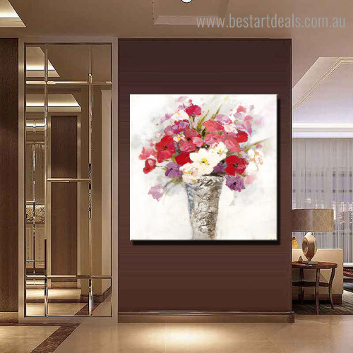 Colorful Flowerpot Abstract Floral Modern Framed Artwork Image Canvas Print for Room Wall Outfit
