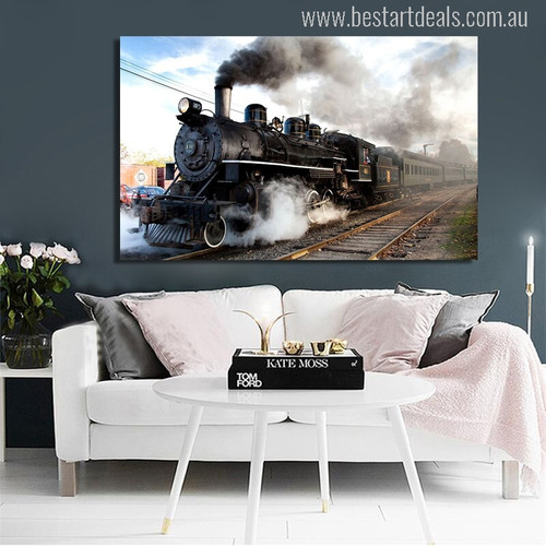 Steam Locomotive Canvas Print for Wall Decor