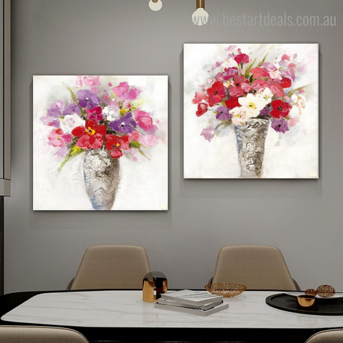 Calico Blooms Abstract Floral Modern Framed Artwork Pic Canvas Print for Room Wall Tracery