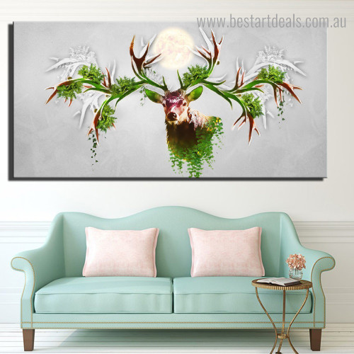 Big Horn Deer Abstract Animal Nordic Framed Painting Photo Canvas Print for Room Wall Decoration