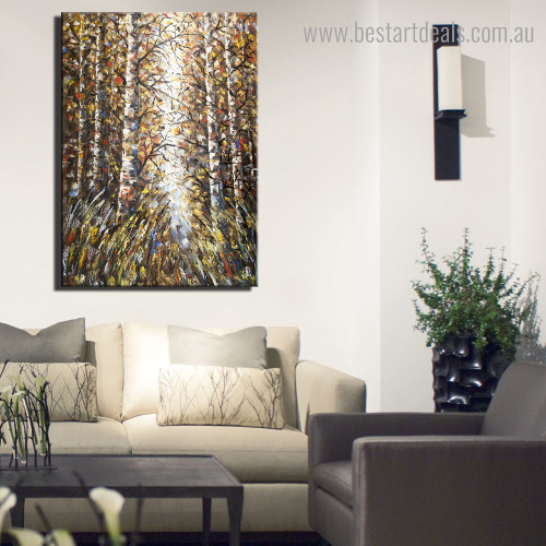 Multicolored Treetops Abstract Botanical Modern Framed Painting Picture Canvas Print for Room Wall Disposition