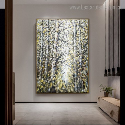 Motley Trees Abstract Botanical Modern Framed Painting Image Canvas Print for Room Wall Decoration