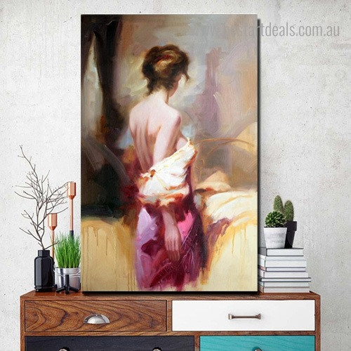 Half Naked Nude Figure Framed Painting Photo Canvas Print for Room Wall Outfit