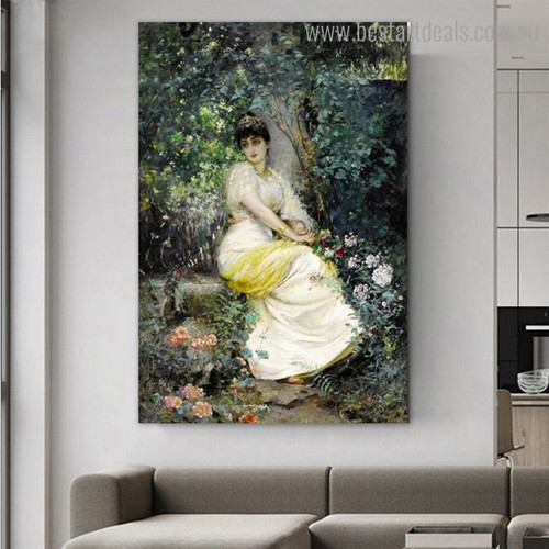 Seat in Shade Reproduction Figure Framed Artwork Portrait Canvas Print for Room Wall Flourish