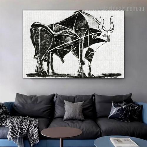 Bull (Plate V) Reproduction Framed Artwork Portrait Canvas Print for Room Wall Garniture