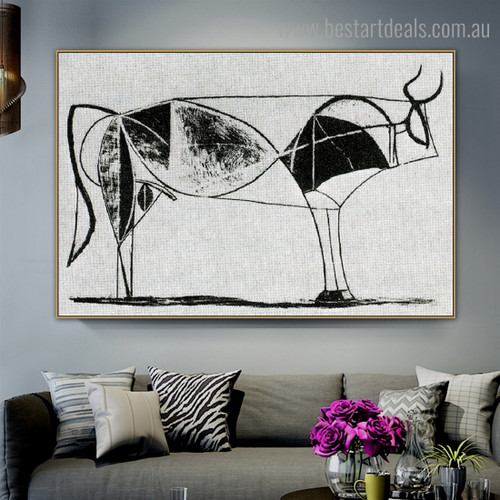 Bull (Plate VII) Reproduction Framed Artwork Image Canvas Print for Room Wall Adornment
