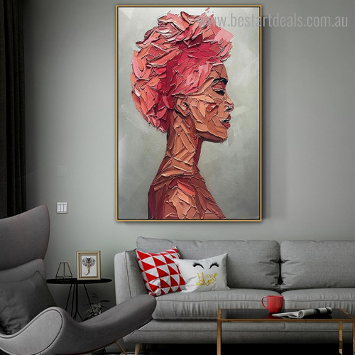 Dame Face Abstract Modern Framed Artwork Image Canvas Print for Room Wall Decor