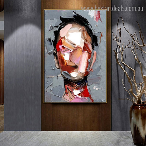 Human Visage Abstract Modern Framed Artwork Pic Canvas Print for Room Wall Finery