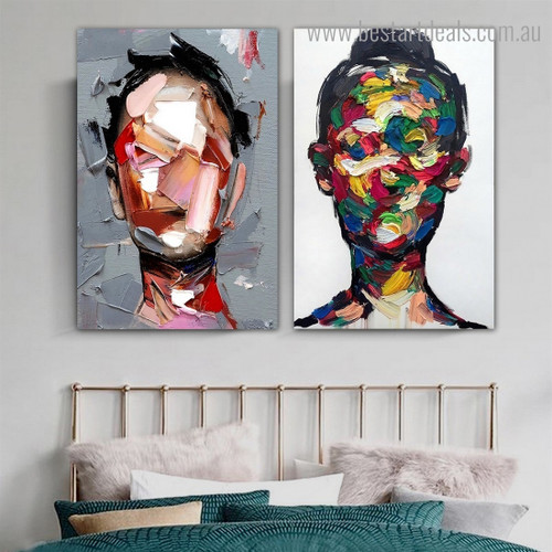 Females Mask Abstract Modern Framed Artwork Picture Canvas Print for Room Wall Flourish