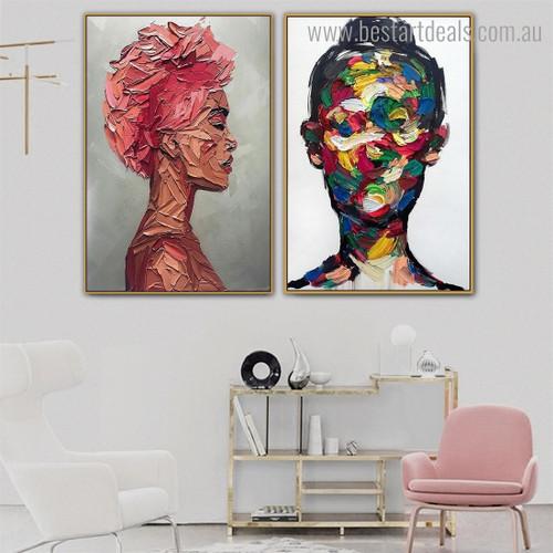 Women Facade Abstract Modern Framed Artwork Image Canvas Print for Room Wall Garniture