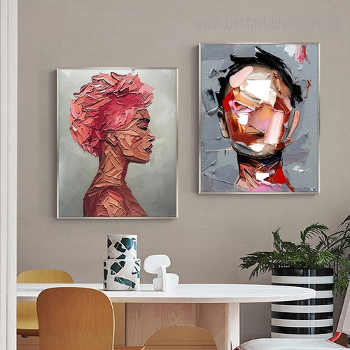 Ladies Countenances Abstract Modern Framed Artwork Photo Canvas Print for Room Wall Molding