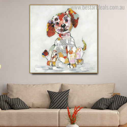Colorful Puppy Abstract Animal Framed Painting Image Canvas Print for Room Wall Adornment