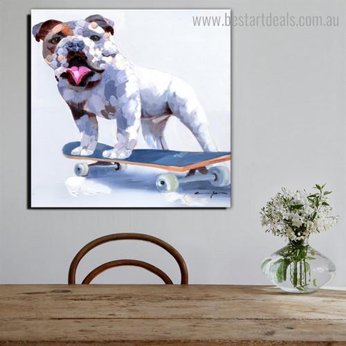 Bulldog Skateboard Abstract Animal Modern Framed Painting Pic Canvas Print for Room Wall Decor