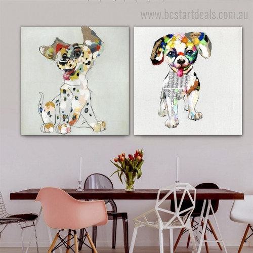 Colorific Puppies Abstract Animal Modern Framed Painting Photo Canvas Print for Room Wall Ornament