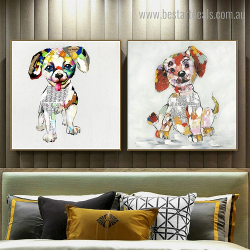 Motley Whelp Abstract Animal Modern Framed Painting Pic Canvas Print for Room Wall Ornamentation