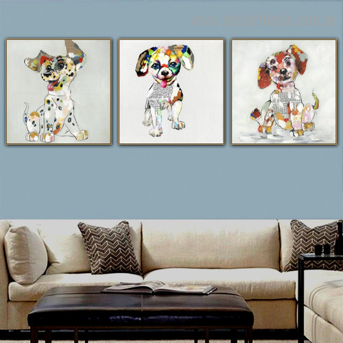 Particoloured Pups Abstract Animal Modern Framed Painting Pic Canvas Print for Room Wall Assortment