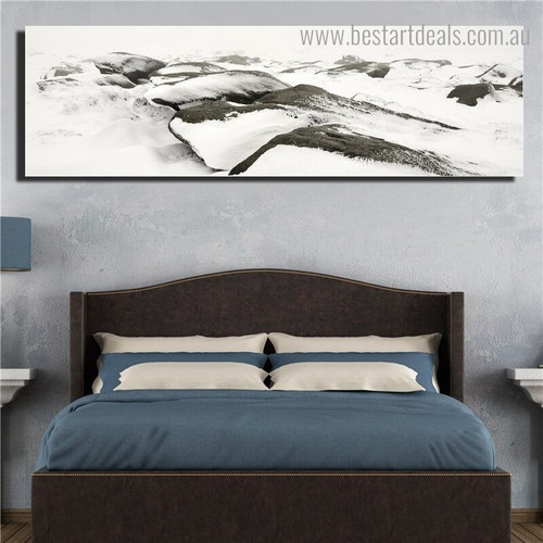 Snow Hills Landscape Nature Framed Painting Photo Canvas Print for Room Wall Decor