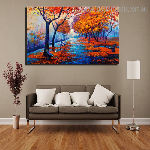 Autumn Landscape Nature Framed Painting Portrait Canvas Print for Room Wall Decor