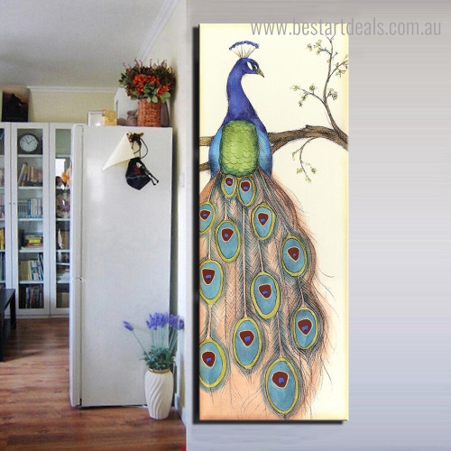 Long Tail Peacock Abstract Bird Modern Framed Painting Photo Canvas Print for Room Wall Flourish