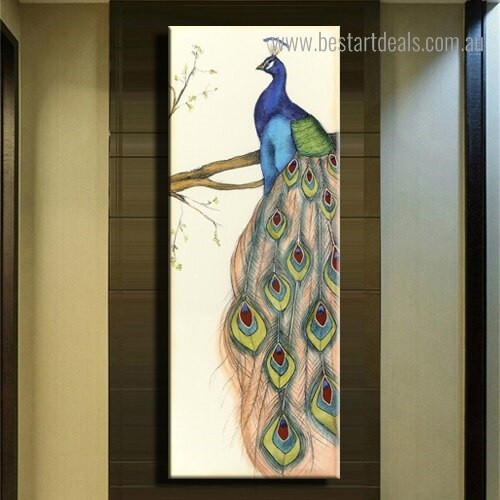 Wonderful Peafowl Abstract Bird Modern Framed Painting Image Canvas Print for Room Wall Garnish