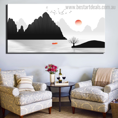 Briny Landscape Nature Framed Painting Photo Canvas Print for Room Wall Decoration