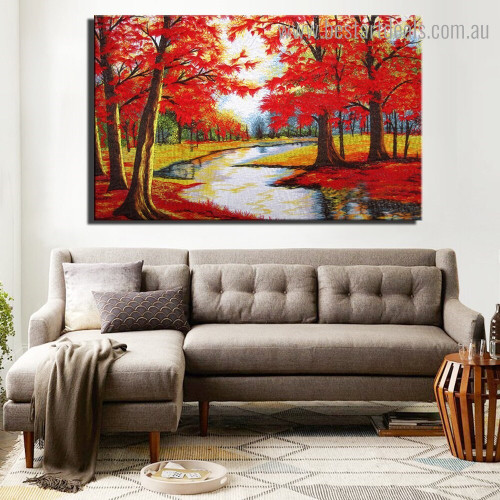 Autumn Weather Landscape Nature Framed Painting Pic Canvas Print for Room Wall Flourish