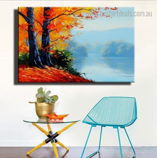 Autumn Mausam Landscape Nature Framed Painting Picture Canvas Print for Room Wall Flourish