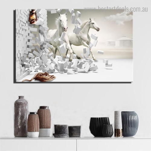 Two Steeds Animal Framed Artwork Image Canvas Print for Room Wall Assortment