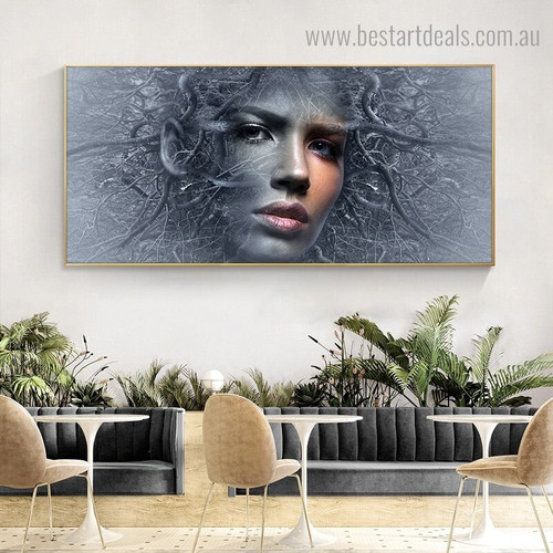 Tree Girl Abstract Botanical Figure Framed Painting Photo Canvas Print for Room Wall Adornment