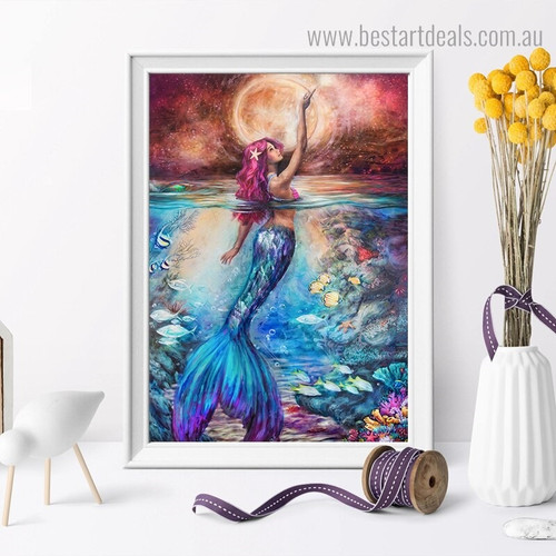 Sea Maid Animal Nature Framed Painting Picture Canvas Print for Room Wall Tracery