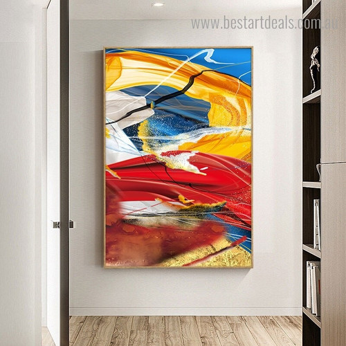 Multicolored Streaks Abstract Impressionist Framed Artwork Photo Canvas Print for Room Wall Decoration