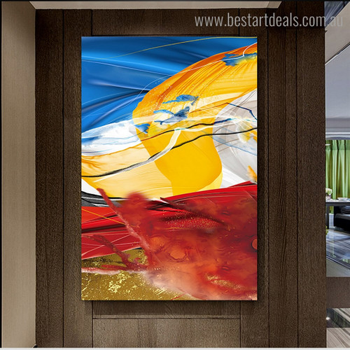 Chromatic Lines Abstract Impressionist Framed Artwork Picture Canvas Print for Room Wall Garniture