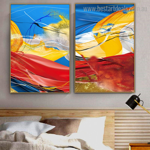 Colorific Wrinkles Abstract Impressionist Framed Artwork Photo Canvas Print for Room Wall Garniture