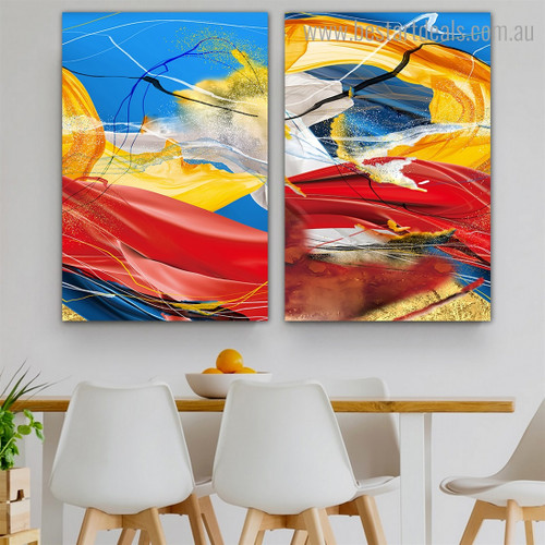 Chequered Striature Abstract Impressionist Framed Painting Image Canvas Print for Room Wall Decor
