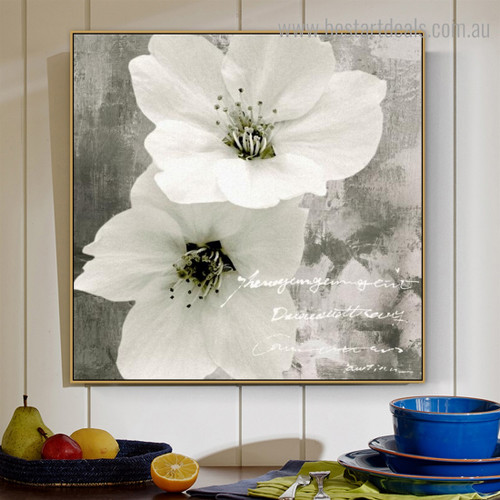 Two Blooms Floral Modern Framed Painting Pic Canvas Print for Room Wall Drape