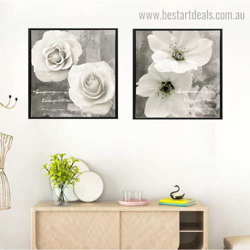 Flower with Quote Botanical Modern Framed Painting Picture Canvas Print for Room Wall Garniture
