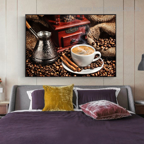 Coffee Cup Food Modern Framed Painting Picture Canvas Print for Room Wall Ornament