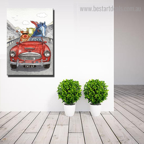 Driving Horse Abstract Kids Framed Artwork Image Canvas Print for Room Wall Adornment