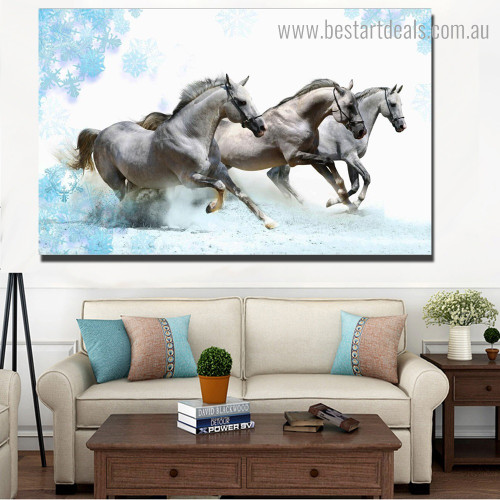 Three Horses Animal Nature Modern Framed Painting Pic Canvas Print for Room Wall Finery